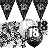 Unique Einzigartige bpwfa-4037Glitz 18. Geburtstag Flagge Banner Party Deko-Set, schwarz