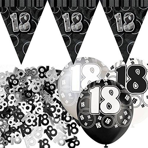 bpwfa-4037Glitz 18. Geburtstag Flagge Banner Party Deko-Set, schwarz ()