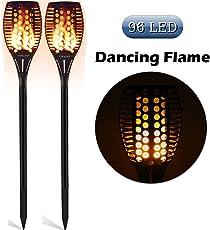 FVTLED Solar Garten Flammen Fackeln 96 LED Bis Dawn Automatische Ein / Aus(Licht Sensor), spotlight Gartenleuchte licht garten beleuchtung soalr spotlight Außen warmlicht Wasserdicht IP65