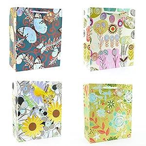 Gifts 4 All Occasions Limited SHATCHI-588 - Juego de 4 bolsas de papel de tamaño mediano con diseño floral, para cumpleaños, Navidad, bodas, multicolor