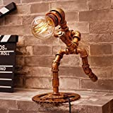 WXBW Table lamp-Retro industry bulb book bar caf category robot iron water tube lamp