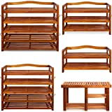 Shoe Storage Rack Wooden Tropical Acacia Storing Cabinet Furniture Unit Shoe Organiser