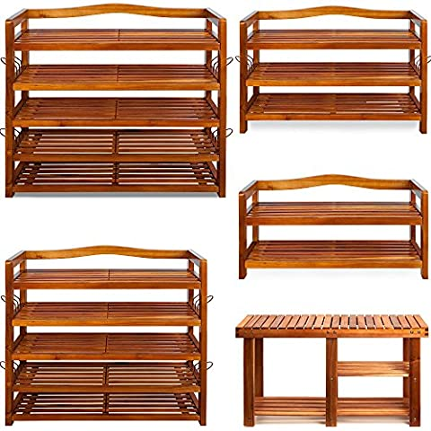 Shoe Storage Rack Strong Wooden Tropical Acacia Robust Storing Cabinet