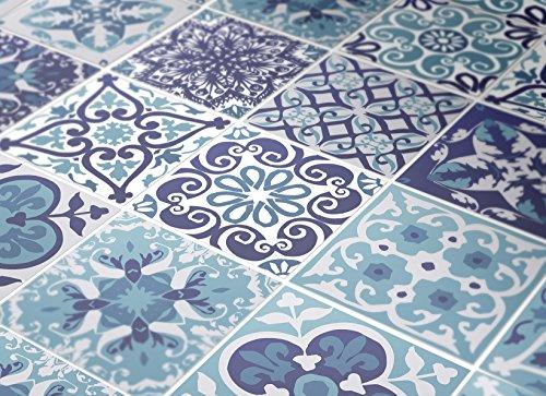 Wandaufkleber Portugiesische Blaue Küche Fliesendekor Ideen (Packung mit 48) (BODEN - 15 x 15 cm) -