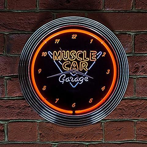 MUSCLE CAR GARAGE NEON CLOCK - Real Neon (not