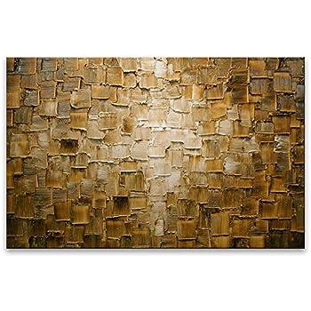 bilder auf leinwand lgem lde abstrakte kunst handgemalt moderne gro e golden bricks amazon. Black Bedroom Furniture Sets. Home Design Ideas
