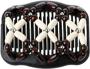 Xuniu Magic Wood Beads Double Women/Ladies capelli pettine elastico capelli pettini clip