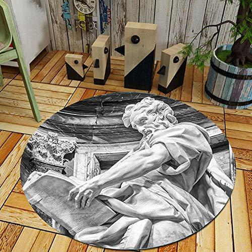 Alfombra Redonda,Hombre Leyendo Libro Escultura Arte Impresión Alfombra Redonda Almohadilla Pies Antideslizantes...