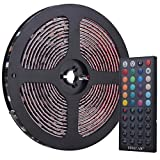 Tingkam® Waterproof 5050 SMD 10m 32.8ft RGB Flexible LED Strip Light Kit in Black PCB + 44 Key Remote Controller + UK Power Supply for Home Lighting