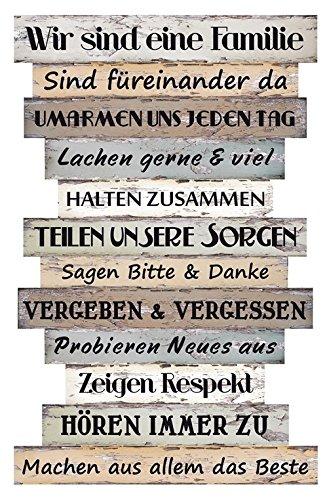 Bild Planken-Schild - Familienregeln ~ Lv KW 11 (Regeln-wand-hängen Badezimmer)