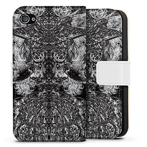 Apple iPhone X Silikon Hülle Case Schutzhülle Ornamente Thomas Hanisch Muster Sideflip Tasche weiß