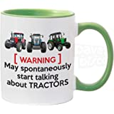 Warning May Spontaneously Start Talking About Tractors, Farmer, Farming, Drive, Driver, Birthday Gift idea, Blue Inside, Cera