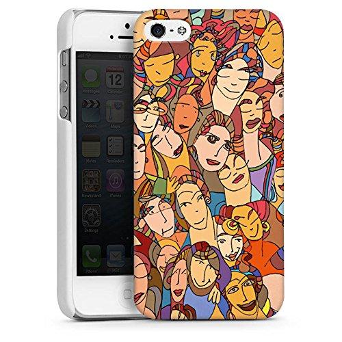 Apple iPhone 5s Housse Étui Protection Coque Visages Yeux Yeux CasDur blanc