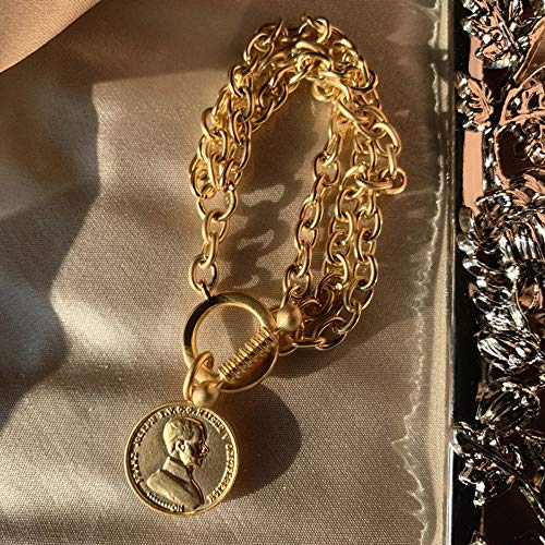 YIYIYYA Armband Vintage Klassische Matte Gold Farbe Münze Charme Armbänder Für Frauen Modeschmuck Luxus Gold Farbe Armbänder Weibliche
