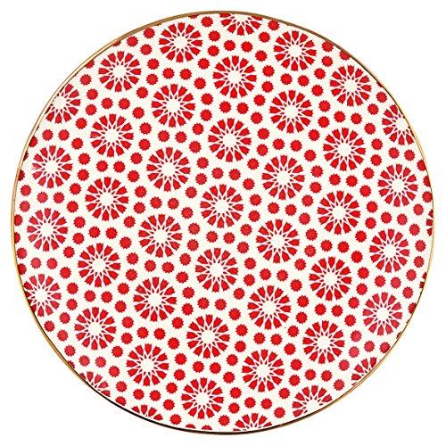 Greengate STWPLALKEL1006 Kelly Assiette à Petit-déjeuner Rouge/doré 21 cm