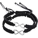 Shlonger, bracciali unisex intrecciati con simbolo dell'infinito, realizzati a mano, per fidanzati, amici, familiari, 2 pezzi