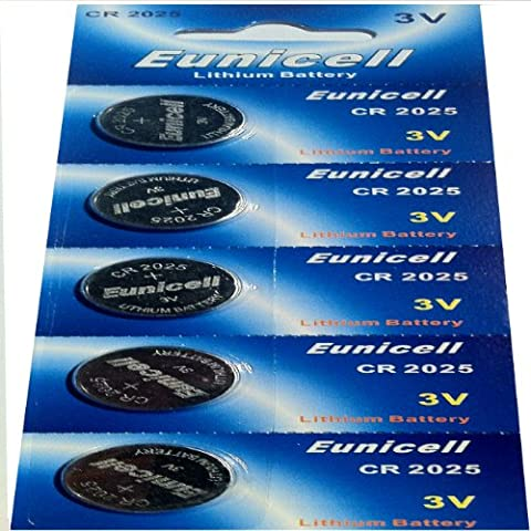 5 x CR2025 3V Lithium Knopfzelle 150 mAh ( 1 Blistercard a 5 Batterien ) Markenware --- Eunicell ---