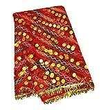 PEEGLI Jahrgang Indian Dupatta Rot Netzstoff Traditionelle