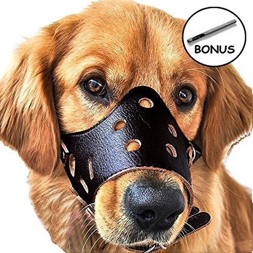 JUNMO chien en cuir Muselière anti-aboiement pour les...