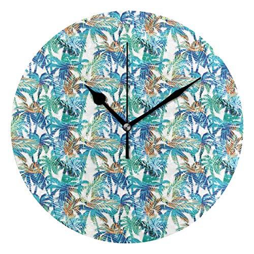 LISUMAL Stampa Estate Tropicale con Fantasia Astratta Natura Palm Fantasia Sogno,Sveglia Rotonda Senza Scala da 25 cm per Uso Domestico, Parete/Display, Stile retrò Rustico colorato Chic
