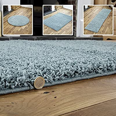DUCK EGG BLUE SHAGGY RUGS - PREMIUM QUALITY MODERN SMALL TO EXTRA LARGE - PLAIN SOFT 5CM HIGH VERY THICK PILE (80x150cm)