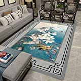 Chinois Style Tapis Salon Lavable Chinois Style Canapé Table Basse Pad Chambre Chevet Rectangulaire (Couleur : A, taille : 200x300cm(79x118inch))...
