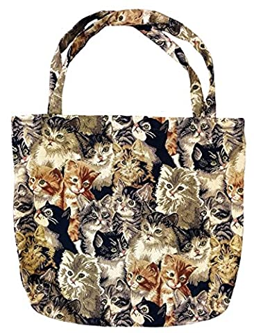 Einkaufstasche, Stofftasche Leinen 45 x 45cm, Motiv Katzen, Einkaufsbeutel Gobelin-Stil