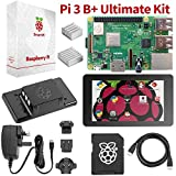 Raspberry Pi 3 B + Ultimate Starter Kit Complete Touch & Teach Package w/PI3 B + Motherboard, 7 Touchscreen Display, Keyboard, 32 GB PRELOADED NOOBS, Official Case, 2 HEATSINKS & HDMI & Power Cables