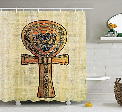 BUZRL Egyptian Decor Shower Curtain Set, Ancient Papyrus Presenting The Key of Life Traditional Empire Egyptian Print, Bathroom Accessories, 60x72 inches, Cream Orange