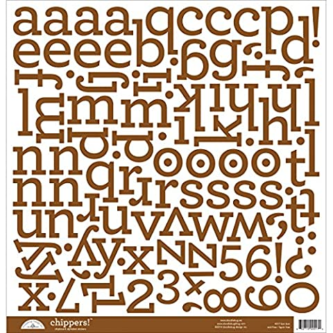 Doodlebug Cardboard Chippers Monochromatic Chipboard Alphabet Stickers 12-inch x 12-inch-Bon Bon