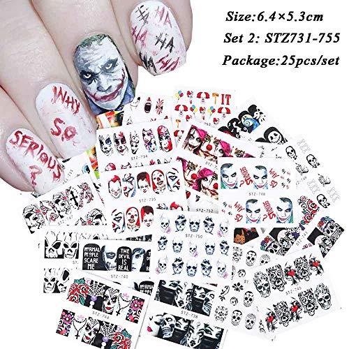 RXBGPZZJT Nagelaufkleber 1 Satz Halloween Wassertransfer Nail Art Sticker Schädel Geist Clown Kürbis Maniküre Nagel Slider Aufkleber Dekor