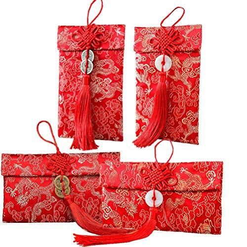 Yesoa Briefumschläge, chinesischer Glücksdrachenelement, rote Briefumschläge für Hochzeit, Neujahr, rote Geldtaschen, Platz für ca. 100 Blatt, 4 Stile (Roter Umschlag Chinesisch)