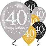 Amscan 9900739 Latex-Luftballons, 53,3 cm, Motiv 40. Geburtstag
