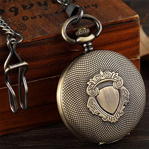 SDVIB Reloj de Bolsillo Reloj de Bolsillo mecánico de Bronce Steampunk de Bronce Vintage Escudo Grabado Fob Cadena Reloj de Bolsillo mecánico de Viento de Mano Hueca Reloj de Hombre, Bronce