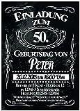 50 x Einladung zum Geburtstag als Eintrittskarte Ticket Karte Einladungskarten 50 Stück Einladungskarten selber gestalten Mann Frau Erwachsene