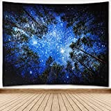 Towinle Wandbehang Hochwertige Wandteppich Tapisserie Psychedelic Wandtuch Hausdeko Bettdecke Strandtuch Tagesdecke Boho Deko (Wald Sternenhimmel)