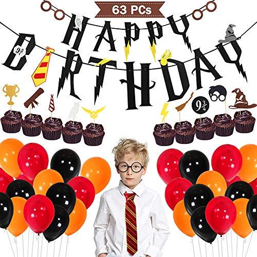 Tacobear Zauberer Geburtstag Party Deko Inklusive Krawatte Brillengestell Cupcake Topper Picks Balloon Banner für Geburtstagsdeko Themenparty 63pcs für Kinder Jungen Mädchen (Kostüm Themen Für Die Arbeit)