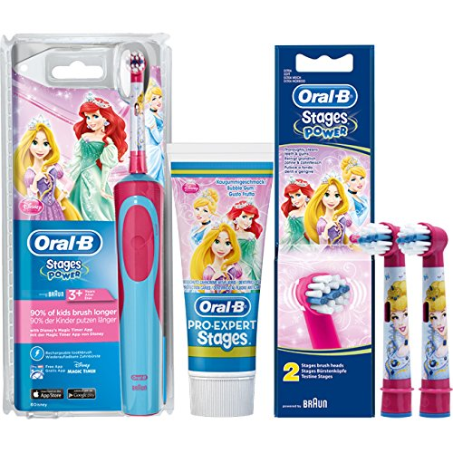 SPAR-SET: 1 Braun Oral-B Stages Power AdvancePower Kids 900 TX elektrische Akku-Zahnbuerste Kinder 3+ J. D12.513.K Disney Princess + 2er Stages Aufsteckbürsten + 75 ml Oral-B PRO-EXPERT Stages Kinderzahncreme Prinzessin
