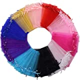 100pcs Organza Gift Bags Assorted Color,10 x 15 cm Jewelry Drawstring Pouches Wedding Party Favors Bags Christmas Candy…
