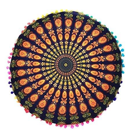 Zjene indien Mandala Sol oreillers rond Bohème Coussin Coussins oreillers Coque, Coton/polyester, doré, 43*43cm/(17.0*17.0