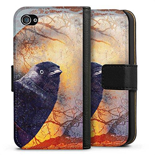 Apple iPhone X Silikon Hülle Case Schutzhülle Rabe Vogel Krähe Sideflip Tasche schwarz