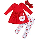 FANCYINN Trajes de Navidad para niñas pequeñas Camisetas de Manga Larga de Papá Noel para niñas pequeñas + Pantalones Largos