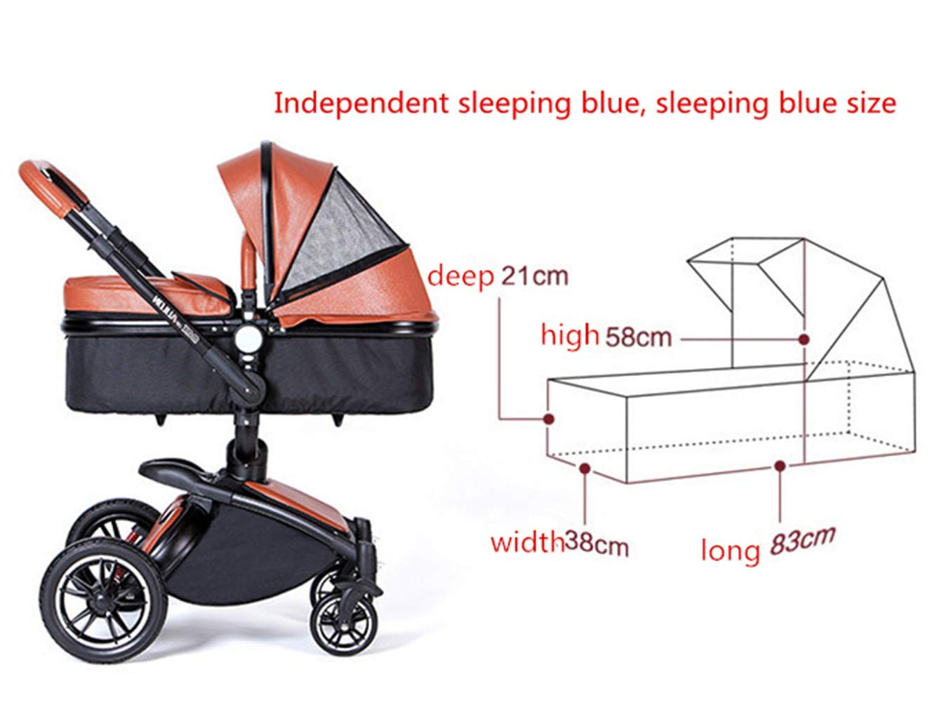 Baby Stroller High Landscape Foldable Two-Way Baby Car Can Sit Lie Children Bb Cart 360 Degree Can Be Rotated Ddpp Aluminum frame. Adjustable weather shield. Big sleeping basket. High view. Reversible stroller seat. Folding shock absorber. The aluminum alloy frame has a good luster. It is lighter than iron (or steel, copper) and does not rust, so it can be used for a long time; the adjustable handlebar can meet the needs of people of different heights and can adjust the push position; the reversible stroller seat makes the baby easy to face For parents or facing the world. .PU wheel, and can roll on rough terrain, such as grass, gravel road, sidewalk, sand and so on. The rotating front wheel can be locked in a precise position, and the suspension spring mounted on it effectively absorbs different vibrations to protect the baby's brain and body. The one-touch parking brake brakes both rear wheels quickly and thoroughly, keeping the baby away from danger and risk. 4