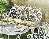 ABC Home Gusseisern Sitzbank Weiß Bank Gartenbank Gartenmöbel Möbel Garten Bank Sitzgelegenheit Garten Romantisch Nostalgie Weiß