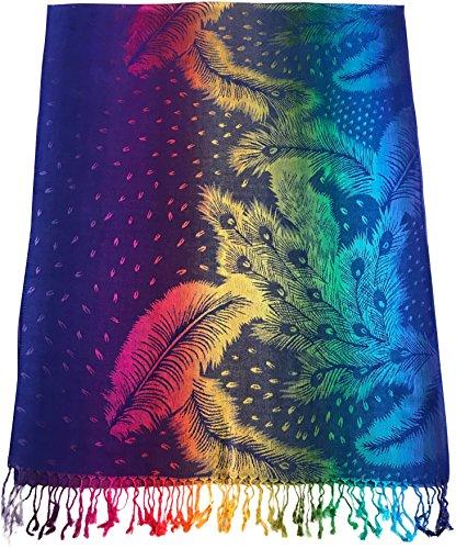 Cj apparel blu reale piuma disegno scialle di pashmina sciarpa della stola dell'involucro di proiezione secondi nuovo