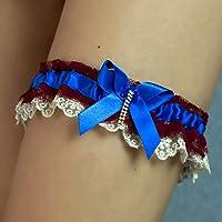Giarrettiera di pizzo matrimonio sposa biancheria intima regali de nozze addio al nubilato rosso bordo blu oro
