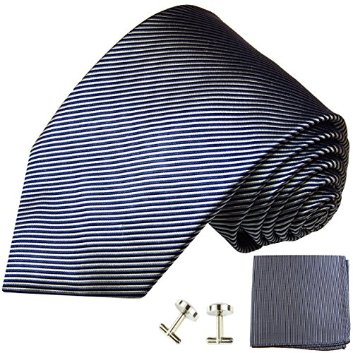 Cravate bleu rayée ensemble de cravate 3 Pièces ( 100% Soie Cravate + Mouchoir + Boutons de manchette )