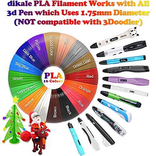 dikale 3D Stift Farben PLA - 16 Farben 12.2 M, 3D Stift Nachfüller 1,75mm für 3D Stift, 3D Drucker, Kompatibel mit ODRVM, Canbor, Uvistare, Sunlu, PLUSINNO, QPAU, Lovebay, Juboury, Nexgadget 3D Pen - 2