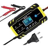URAQT Cargador Baterias Coches, 8A 12V/24V Mantenimiento Automático e Inteligente Múltiples Protecciones LCD y Botón de la Pa