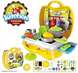 #5: Kids Choice Ultimate Kid Chef's Bring Along Kitchen Pretend Play Toys Suitcase Set (Yellow)